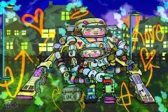 mom-n-robot-boy-CANVAS-12x18-print-LEX