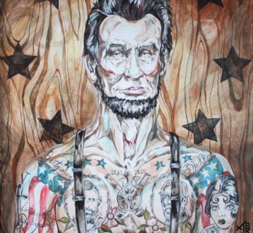 abraham lincoln tattooed web pop art LEX