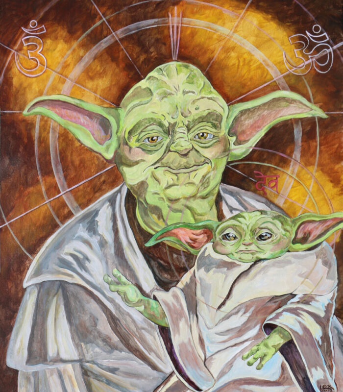 master yoda and child starwars pop art lexcovato