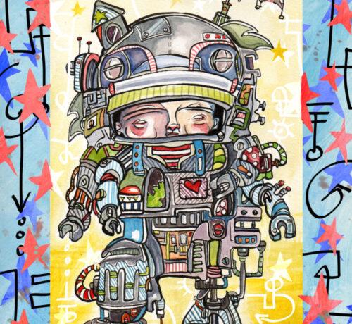 robot boy patriotic lex 16x20