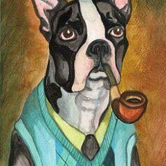 Smoking Boston Terrier